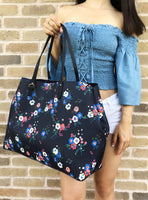 Tory Burch Kerrington Large Square Tote Pansy Bouquet Navy Blue Floral - Gaby's Bags