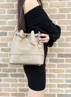Michael Kors Trista Medium Bucket Bag Saffiano Leather Truffle - Gaby's Bags