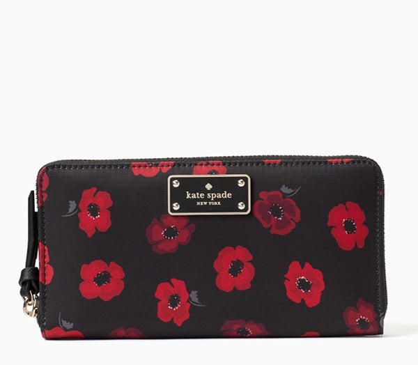 Kate Spade Wilson Road Mini Poppy Small Neda Zip Wallet Black Multi - Gaby's Bags
