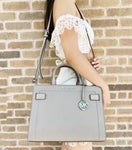 Michael Kors Rayne Leather Medium East West Satchel Crossbody Bag Pearl Grey