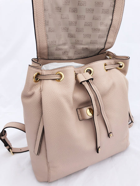 99a48336a329 ... Michael Kors Riley Large Backpack Ballet Pink Gold Studded Drawstring  Flap ...