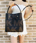 Michael Kors Suri Large Bucket Bag Drawstring Graphic Logo Brown MK Black