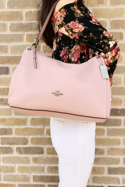 Coach F28966 Mia Pebble Leather Shoulder Bag Carnation Pink - Gaby's Bags