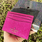 Kate Spade Boxed Small Slim Card Case Holder Lola Glitter Convertible Pink