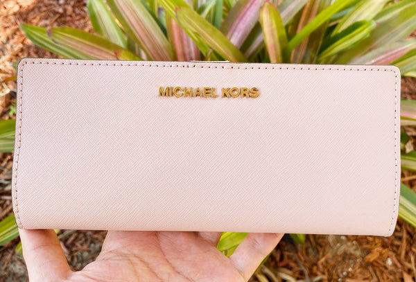 Michael Kors Jet Set Travel Medium Flat Slim Bifold Leather Wallet Blossom Pink - Gaby's Bags