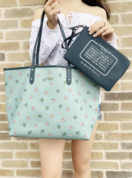 Coach F72714 Reversible City Tote Umbrella Print Midnight Seafoam Blue - Gaby's Bags