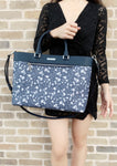 Michael Kors Colgate Large East West Tote Navy Floral Laptop Bag - Gaby's Bags