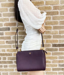 Tory Burch Blake Top Zip Crossbody Pebbled Leather New Plum Purple