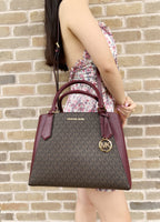 Michael Kors Kimberly Large Satchel Brown MK Mulberry Multi + 3/4 Zip Wallet SET - Gaby's Bags