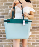 Kate Spade Staci Laptop Tote Triple compartment Leather Colorblock Frosted Mint