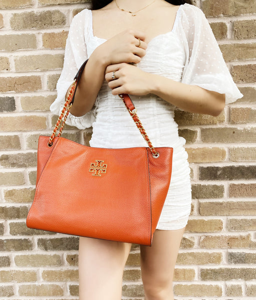 Tory Burch Small Britten Slouchy Chain Tote Crossbody Kola Orange Pebbled Leather