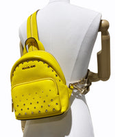 Michael Kors Erin SMALL Convertible Backpack Citrus Studded Leather Fannyback