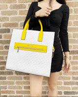 Michael Kors Kenly Large North South Tote White MK Signature Citrus Yellow