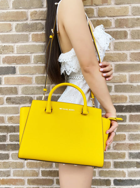 Michael Kors Medium Selma Top Zip Satchel Crossbody Jasmine Yellow
