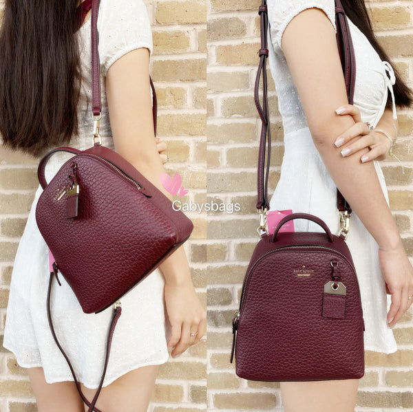 Kate Spade York Carter Mini Caden Leather Backpack Crossody Bag Cherrywood