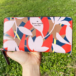 Kate Spade Jackson Neda Large Continental Wallet Leather Tropical Toss Pink Multi