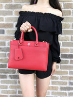 Tory Burch Robinson Small Double Zip Tote Satchel Crossbody Bag Poppy Orange Red - Gaby's Bags