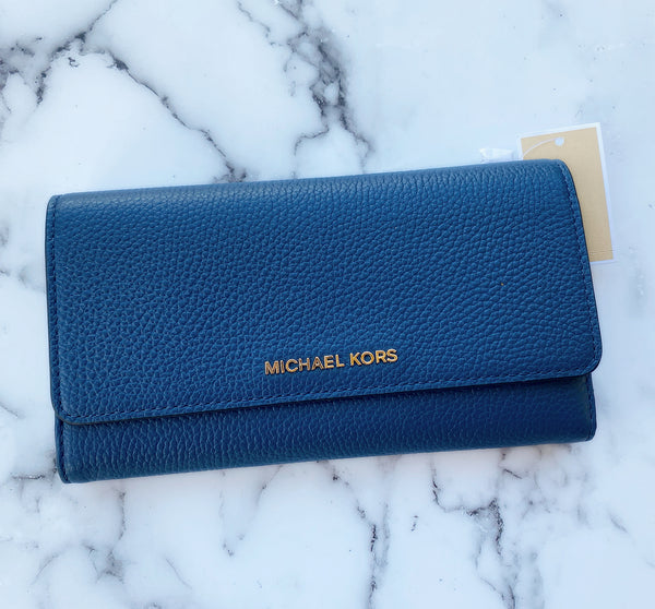Michael Kors Jet Set LG Continental Trifold Wallet Crossgrain Leather Chambray