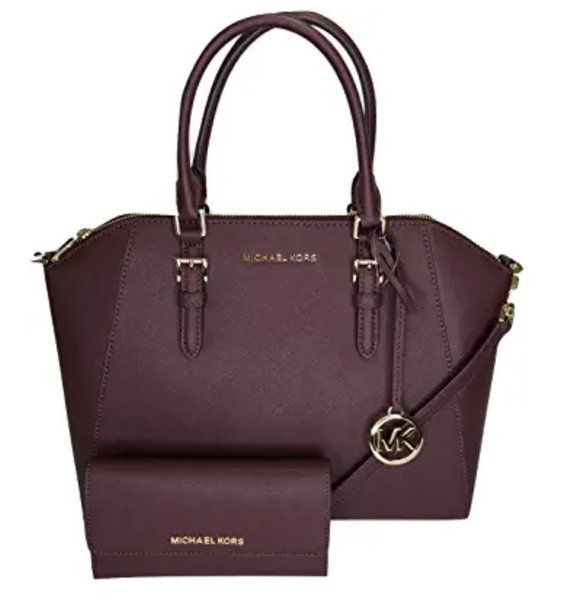 Michael Kors Ciara Large East West TZ Satchel + Trifold Wallet Merlot