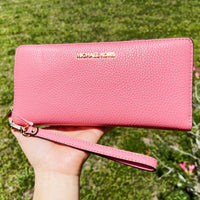 Michael Kors Jet Set Large Continental Wristlet Grapefruit Leather