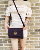 Tory Burch Britten Combo Leather Large Crossbody Messenger Plum Purple