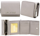 Michael Kors Jet Set Travel Small Multifunctional Zip Around Case Wallet Pearl Grey - Gaby's Bags