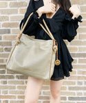 Michael Kors Isla Large Grab Bag Tote Pale Gold Tan Canvas
