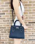 Michael Kors Mott Small Satchel Admiral Blue MK PVC Leather MD Messenger