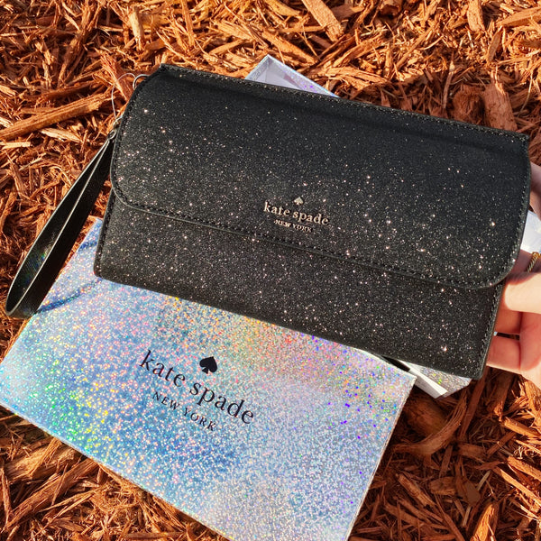 Kate Spade Lola Boxed Glitter Wallet Large Phone Wristlet Clutch Glitter Black