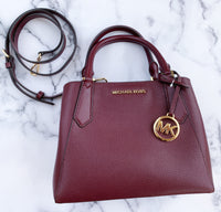 Michael Kors Kimberly Small Satchel Merlot Pebbled Leather - Gaby's Bags