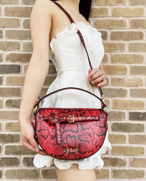 Michael Kors Emilia Half Moon Crossbody Small Saddle Bag Dark Sangria Python