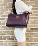 Tory Burch Pebbled Leather Small Britten Slouchy Chain Tote Crossbody Plum