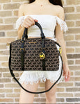 Michael Kors Ginger Large Duffle Satchel Shoulder Bag MK Signature Beige Black