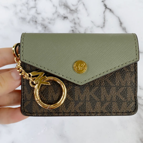 Michael Kors Kala Keychain Card Case Brown MK Signature Army Green Leather