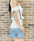 Tory Burch Britten Combo Leather Large Crossbody Messenger Blue Cloud