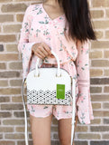 Kate Spade Newman Drive Leather Mini Carli Satchel Crossbody White Perforated - Gaby's Bags