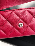 Chanel Caviar Flap Flat O Card Holder O Case Wallet 18B Dark Pink Red - Gaby's Bags