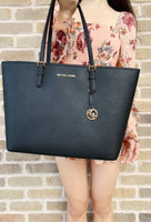 Michael Kors Jet Set Travel Large Multifunctional Carryall Tote Black Saffiano Leather