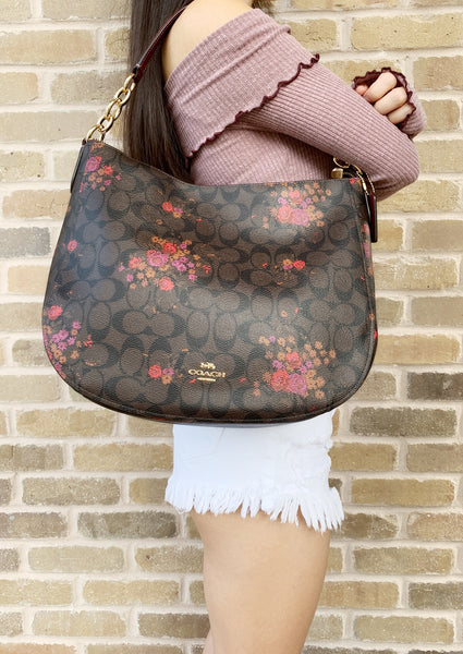 Coach F39527 Elle Hobo Top Zop Shoulder Bag Brown Signature Red Floral - Gaby's Bags