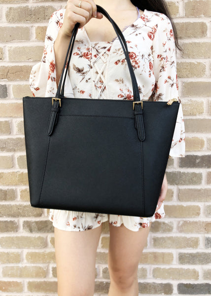 8280d4810a9a ... Michael Kors Ciara Large East West Top Zip Tote Black Saffiano 18Fall - Gaby s  Bags ...