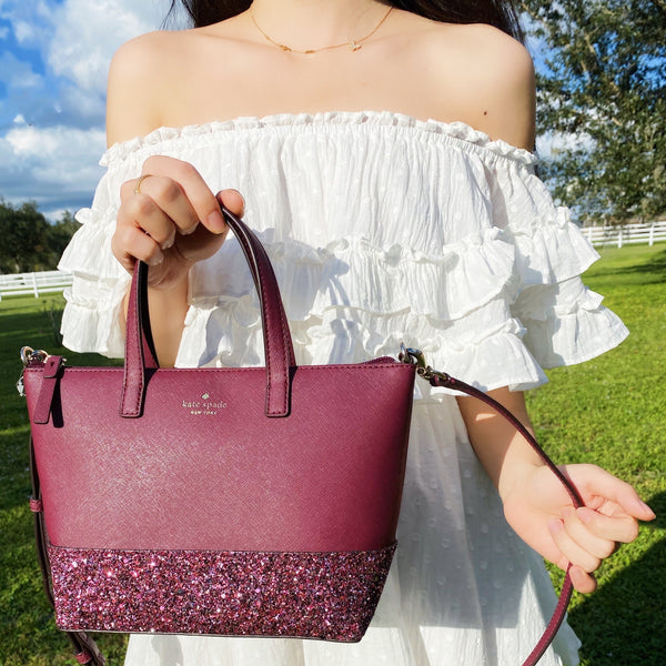 Kate Spade Greta Court Ina Glitter Small Top Zip Satchel Crossbody Cherrywood