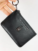 Michael Kors Jet Set Travel Adele Zip Coin Wallet ID Keyring Card Holder Black - Gaby's Bags