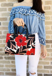 Kate Spade Washington Square Sam Small Satchel Crossbody Canvas Red Floral - Gaby's Bags