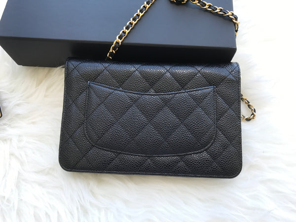 8b223da9168e ... Authentic Chanel Classic Wallet on Chain WOC Black Caviar Quilted -  Gaby's ...