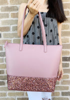Kate Spade Greta Court Penny Glitter Large Top Zip Tote Pink Glitter - Gaby's Bags