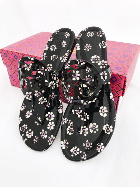 Tory Burch Miller Sandals Thong Flip Flop Patent Leather Black Floral 7.5 - Gaby's Bags