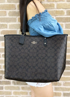 Coach F36658 Reversible City Tote Signature Brown Black - Gaby's Bags