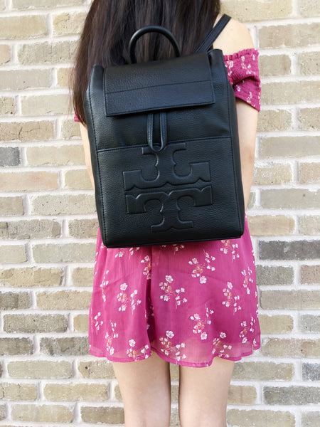 Tory Burch Bombe T Flap Leather Backpack Black Gaby S Bags