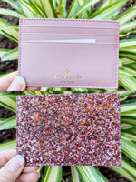 Kate Spade Greta Court Graham Card Holder Glitter Dusty Peony Pink - Gaby's Bags