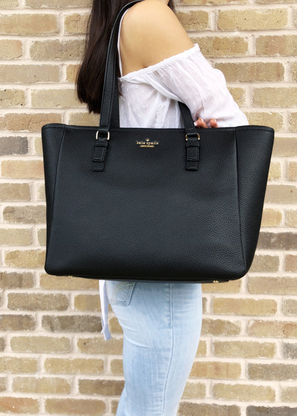 Kate Spade Jackson Street Denise Tote Black Pebble Leather - Gaby's Bags
